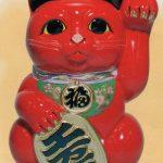 常滑焼6号赤招き猫左手