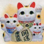 常滑焼8号白三匹猫