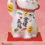 彩絵金運来福招き猫(鈴付・大)(貯金箱)