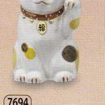 陶彩福鈴招き猫(左手上げ)