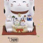 彩絵福招き猫(七福神付・みけ)