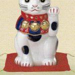 染錦招き猫(8号)